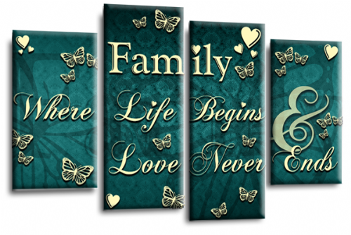 Family Quote Canvas Wall Art Picture Print Teal Cream Grey